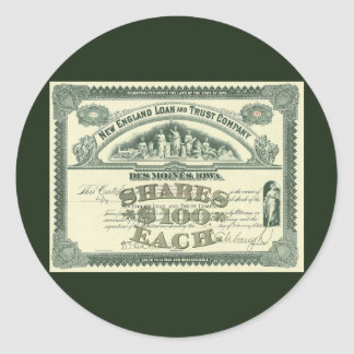 Vintage Capital Stock Certificate Business Finance Classic Round Sticker