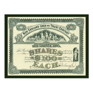 Vintage Capital Stock Certificate Business Finance Postcard