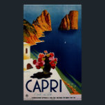 """Vintage Capri French Travel Poster<br><div class=""""desc"""">Blue Sea,  White Houses and Colorful Flowers in Vase Painting</div>"""