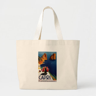 Vintage Capri Italy Travel Large Tote Bag