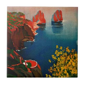 Vintage Capri L'Isola del Sole Italia Azulejo Cuadrado Pequeño