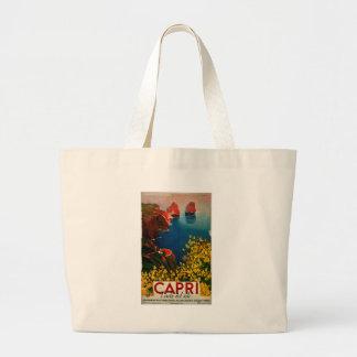 Vintage Capri L'Isola del Sole Italy Large Tote Bag
