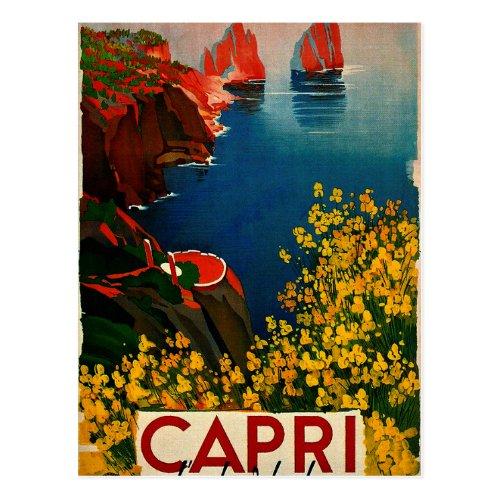 Vintage Capri LIsola del Sole Italy Postcard