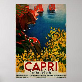 Vintage Capri L'Isola del Sole Italy Poster