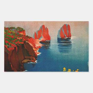 Vintage Capri L'Isola del Sole Italy Rectangular Sticker