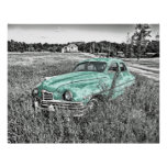 vintage car abandoned in field mint green poster.