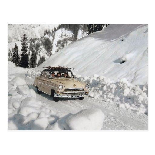 Vintage car advertising, winter scene postcard