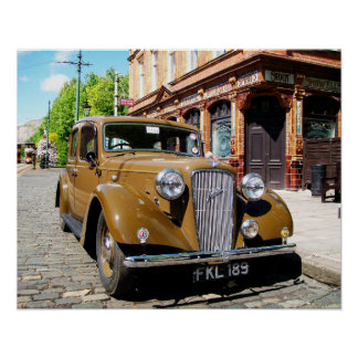 Vintage car and British pub Poster