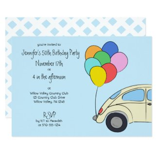 Vintage Car and Colorful Balloons Drawing Birthday Invitation