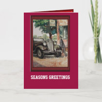 Vintage car and driver holiday card
