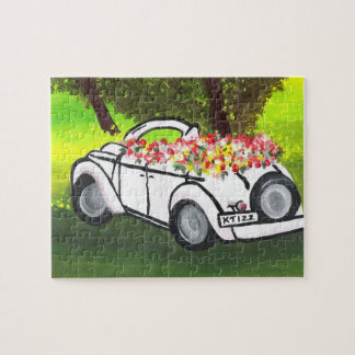 Vintage Car and Spring Flowers (K.Turnbull Art) Jigsaw Puzzle