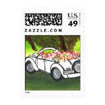 Vintage Car and Spring Flowers (K.Turnbull Art) Stamp