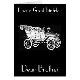 VINTAGE CAR BROTHER GREETING CARD