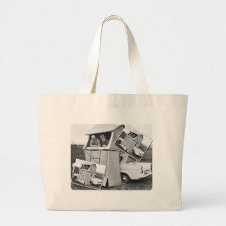 Vintage Car Camping Caravan Tote Bags