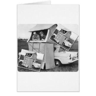 Vintage Car Camping Caravan Greeting Card