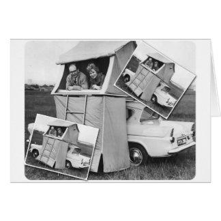 Vintage Car Camping Caravan Cards