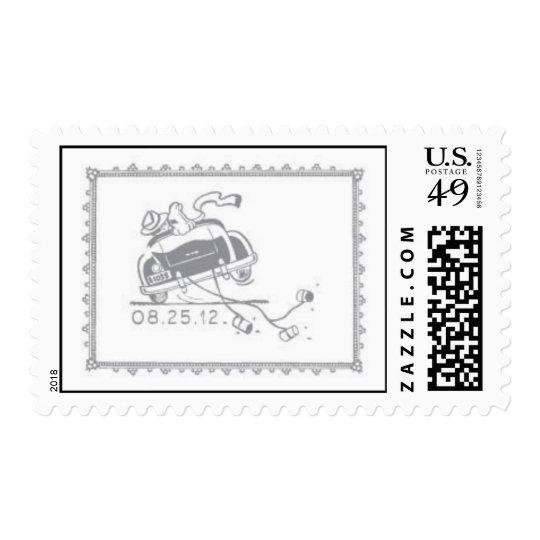 Vintage Car Couple Postage Stamp