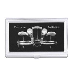 Vintage car custom monogram business card holder