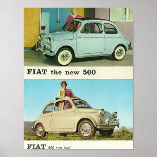 Vintage car Fiat 500 in Italy Poster | retro print