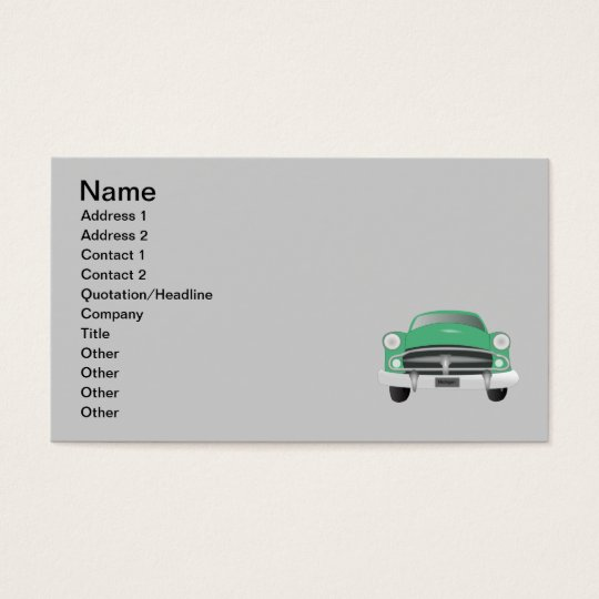 vintage_car_GREEN GRAY OLD-FASHIONED CAR graphic Business Card