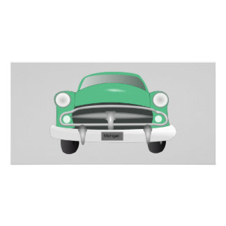 vintage_car_GREEN GRAY OLD-FASHIONED CAR graphic Photo Card