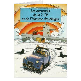 Vintage car greetings card | Citroen 2cv | French
