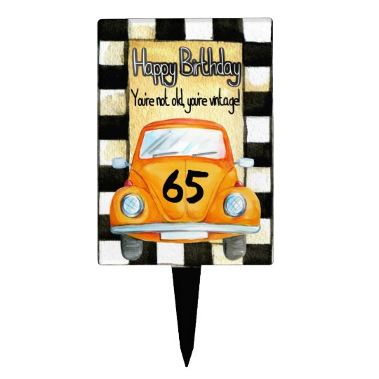 Vintage Car Happy Birthday 65 Year Old Cake Topper