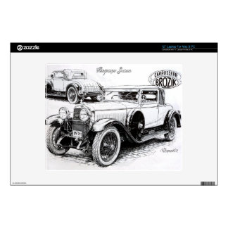 "Vintage car illustration decals for 12"" laptops"