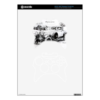Vintage car illustration xbox 360 controller skin