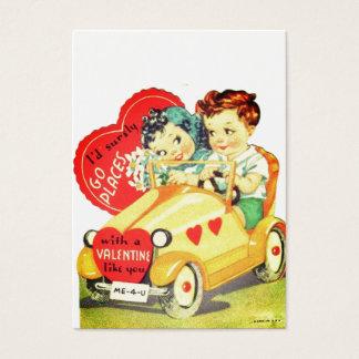 Vintage Car Kids Valentine's Day Valentine Business Card
