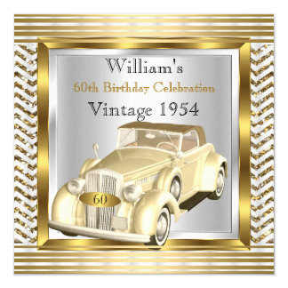 Vintage Car Mans 60th Birthday Party Gold Silver 2 Card