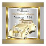Vintage Car Mans 60th Birthday Party Gold & Silver Custom Invitations