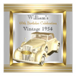 Vintage Car Mans 60th Birthday Party Gold & Silver 5.25x5.25 Square Paper Invitation Card