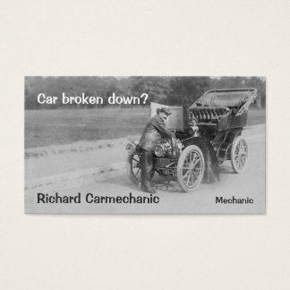 Vintage car mechanic business card