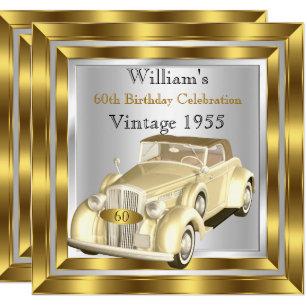 Vintage Car Mens 60th Birthday Party Gold Silver Invitation