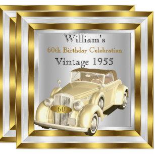 Vintage Car Mens 60th Birthday Party Gold White Invitation