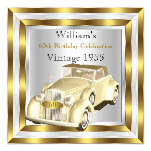 Vintage Car Men's 60th Birthday Party Gold White Invitation