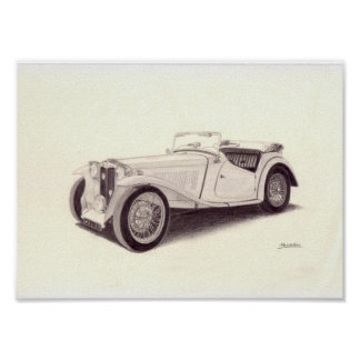 Vintage Car: MG TC Poster