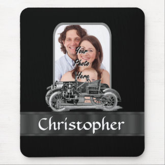 Vintage car on black mouse pad