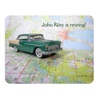 Vintage Car on map Retirement Card