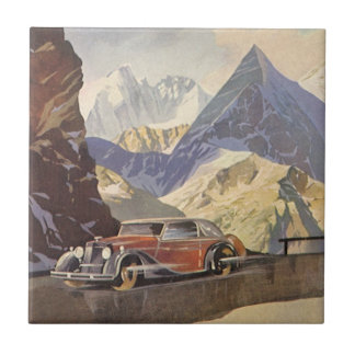 Vintage Car on Mountain Road with Snow in Winter Ceramic Tile
