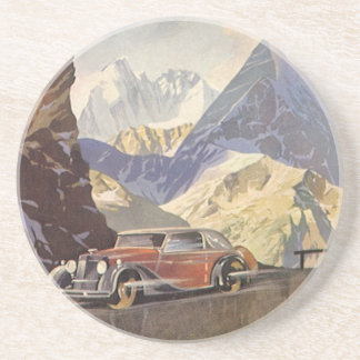 Vintage Car on Mountain Road with Snow in Winter Coaster