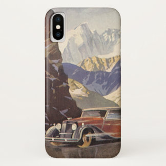 Vintage Car on Mountain Road with Snow in Winter iPhone X Case