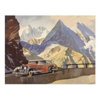 Vintage Car on Mountain Road with Snow in Winter Postcard