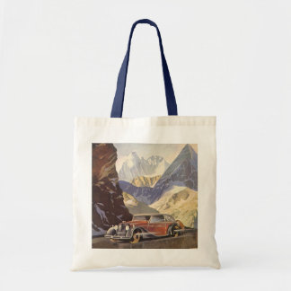 Vintage Car on Mountain Road with Snow in Winter Tote Bag