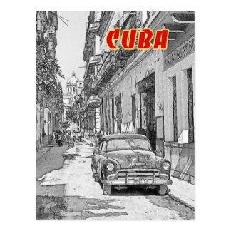 Vintage car on the Havana street Postcard