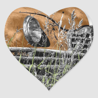 vintage car orange 1920 heart sticker