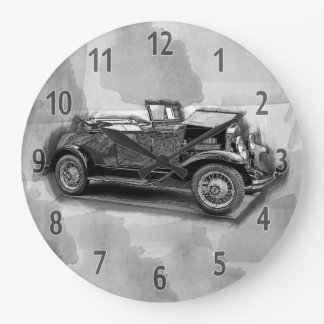 Vintage Car, Pencil Round (Large) Wall Clock