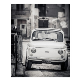 Vintage car Perfect Poster | Fiat 500 | Rome Italy