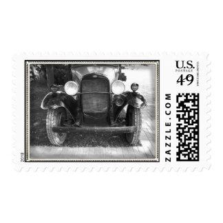 Vintage Car Postage Stamp